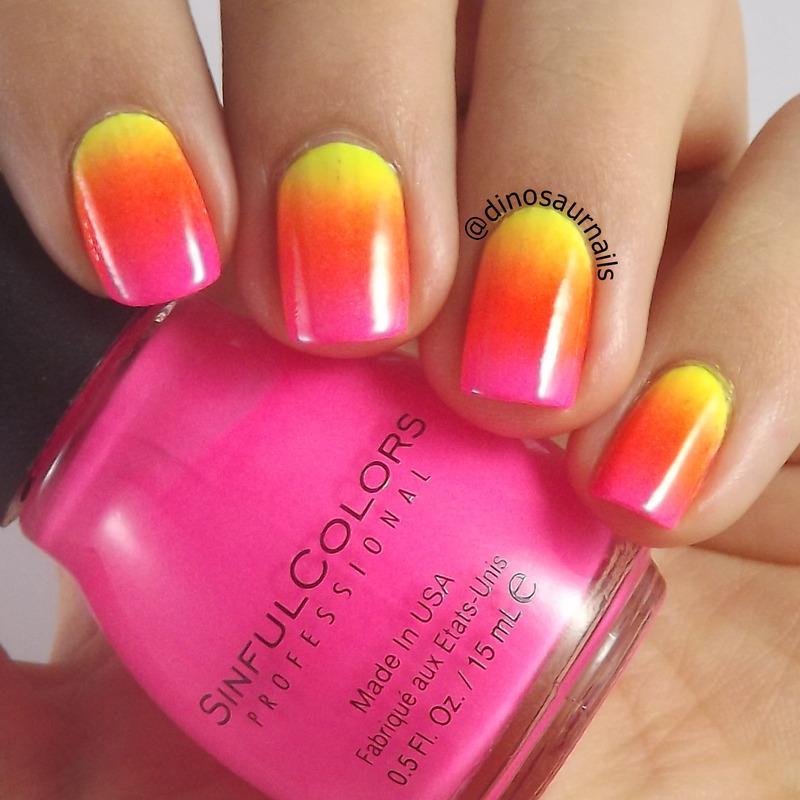 Neon Gradient nail art by  Vanesa
