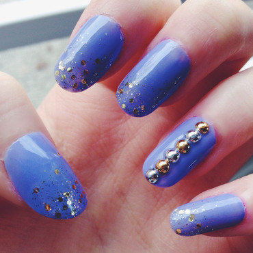 Glitter and Studs nail art by Anya Qiu