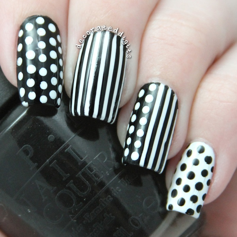 Black & white stripes and dots nail art by Jordan