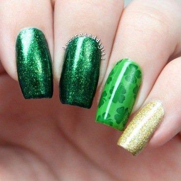 Clover stamped skittlette nail art by Jordan