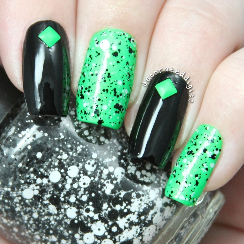 Black & green neon nail art by Jordan - Nailpolis: Museum of Nail Art