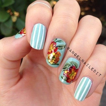Sequin Flowers nail art by Angel Son