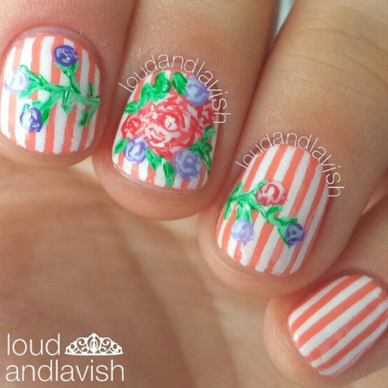 blossoming nail art by Lisa