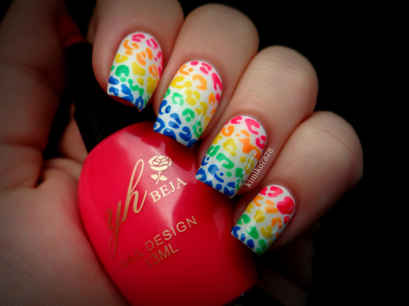 Rainbow Animal Print nail art by Kim
