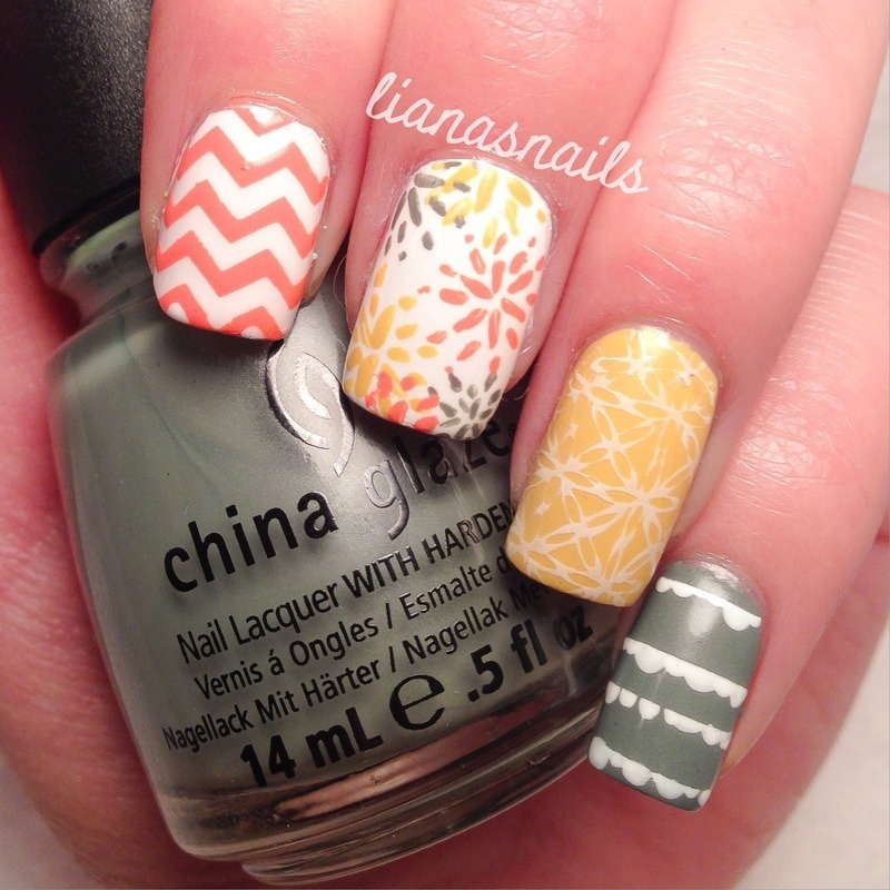 Mismatched Springy Mani nail art by Liana
