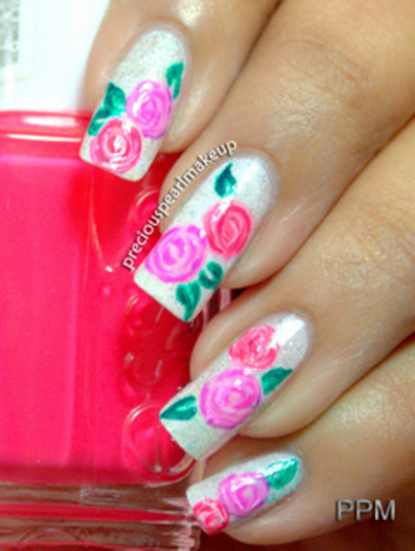 Adoration for Roses nail art by Pearl P.