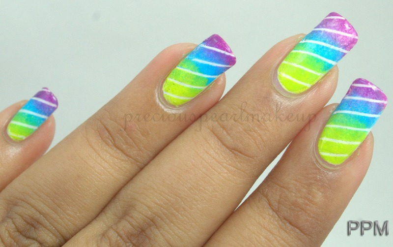 Gradient Nails with Stripes nail art by Pearl P.