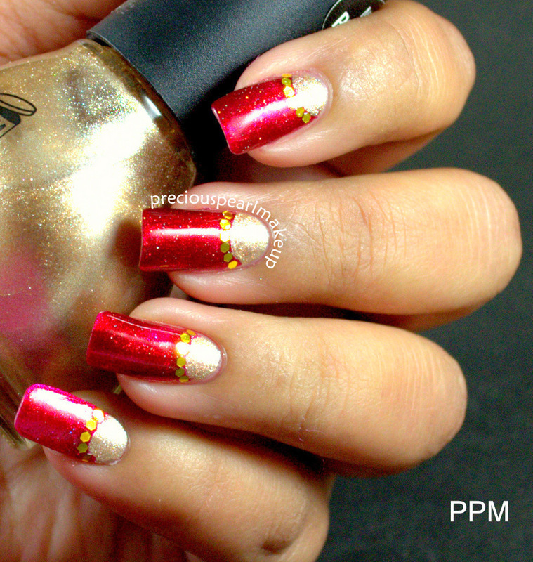 Golden Half Moons nail art by Pearl P.