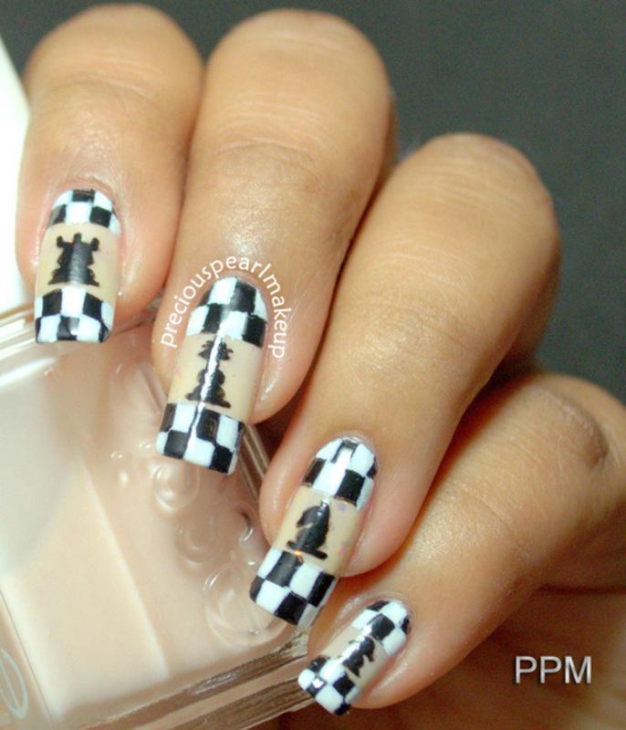 Chess Nails nail art by Pearl P.