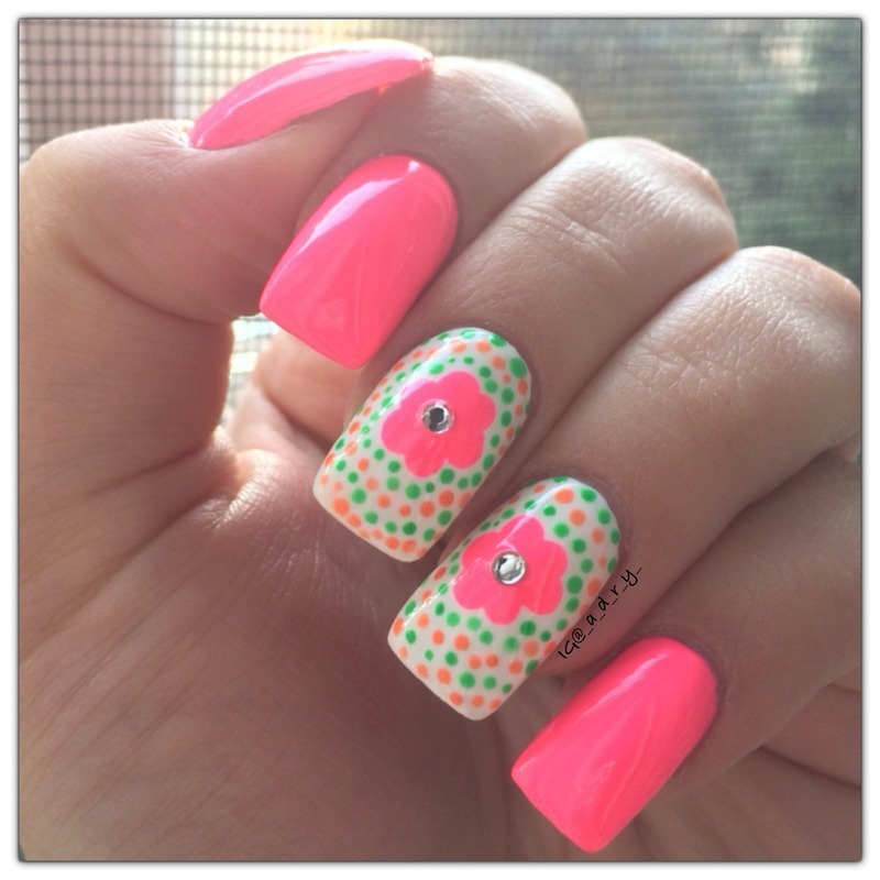 Neon Flowers nail art by Adriana