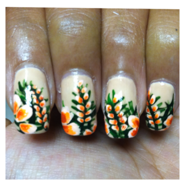 Tropical Flowers nail art by Sasha