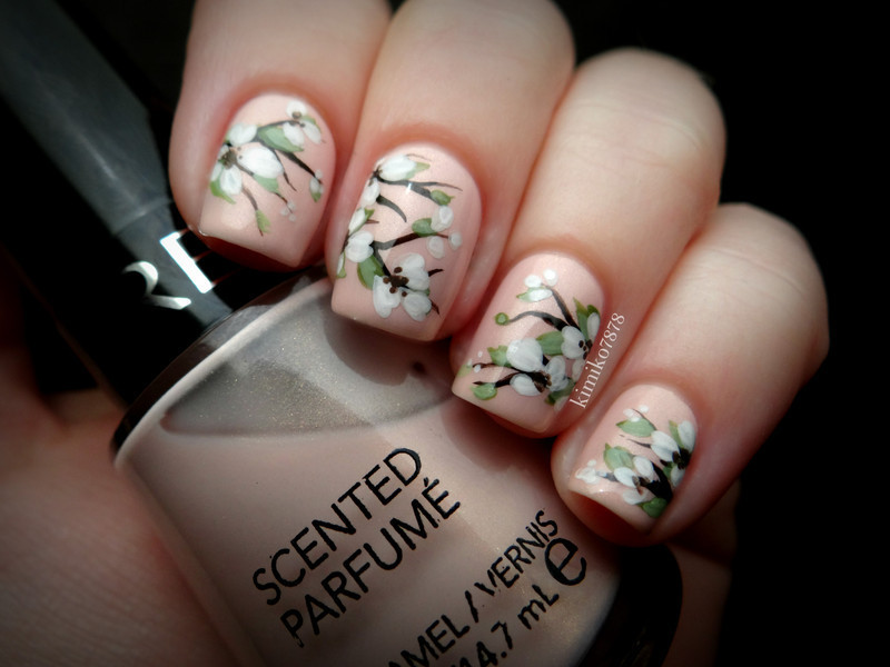 Soft Spring Floral nail art by Kim