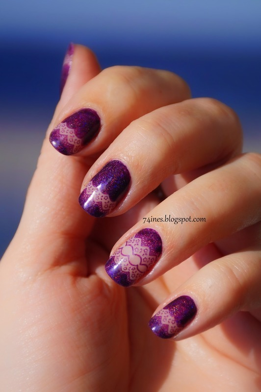 Purple lace nail art by 74ines