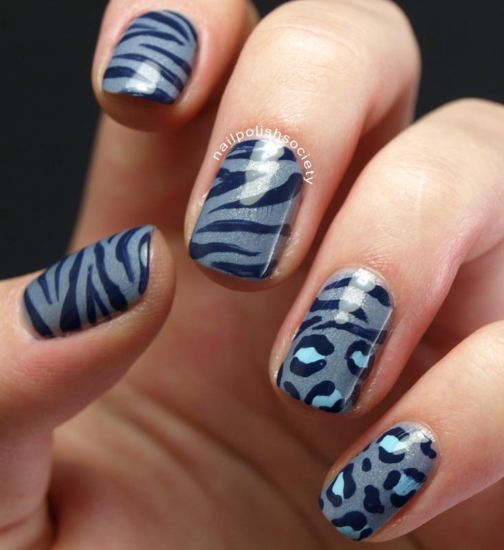 Blue Zebra and Leopard Animal Print nail art by Emiline Harris