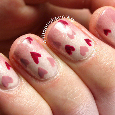 I Heart Valentine's Day nail art by Emiline Harris