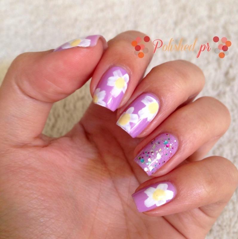 Radiant Orchid + Daisies nail art by Jenn Thai