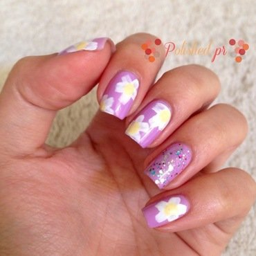 Radiant Orchid + Daisies nail art by Jenn Thai