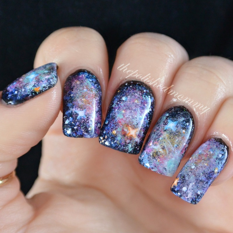 Galaxy nails  nail art by The Polished Mommy