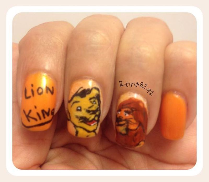 The Lion King nail art by Reina