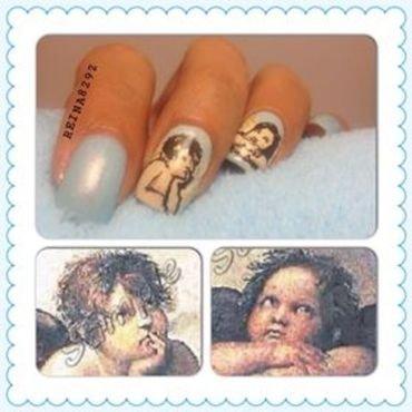 Cherub angels nail art by Reina