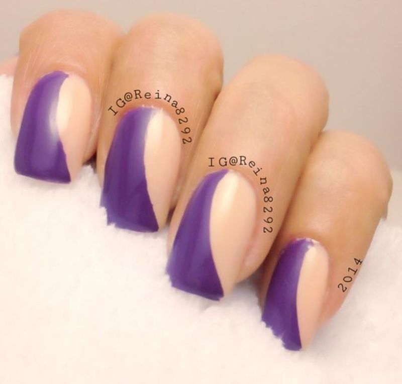 Duo color nail art by Reina