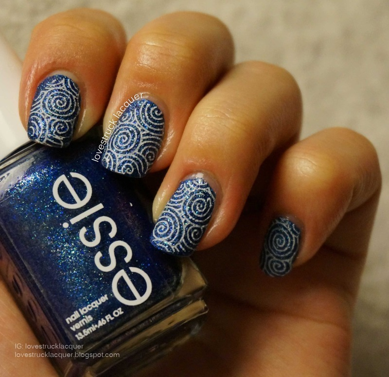 Essie lots of lux with stamping nail art by Stephanie L