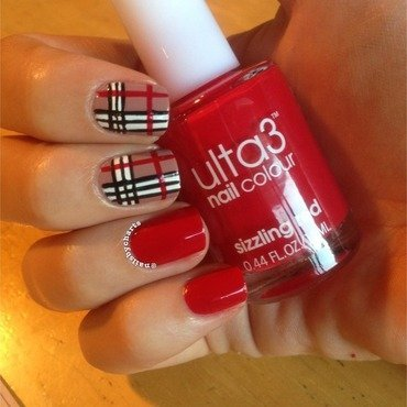 Burberry plaid  nail art by Claudia