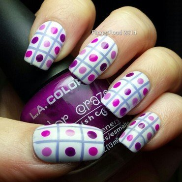 Buffet Dots and Stripes nail art by Sam