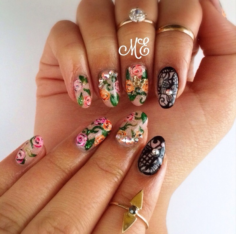 Spring Blossoms nail art by Miriam