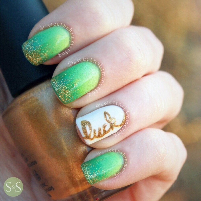 Simple St. Patrick\'s day design nail art by SweetnShimmering ...