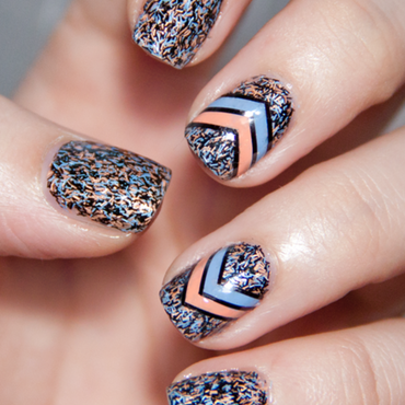Feathers and Chevrons nail art by Chasing Shadows