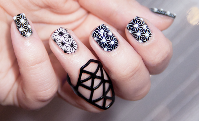 Black and White Geometry nail art by Chasing Shadows