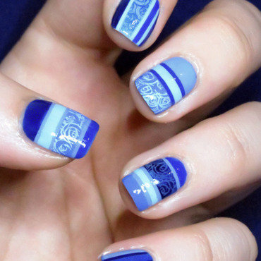 Blue Camaieux nail art by Chasing Shadows