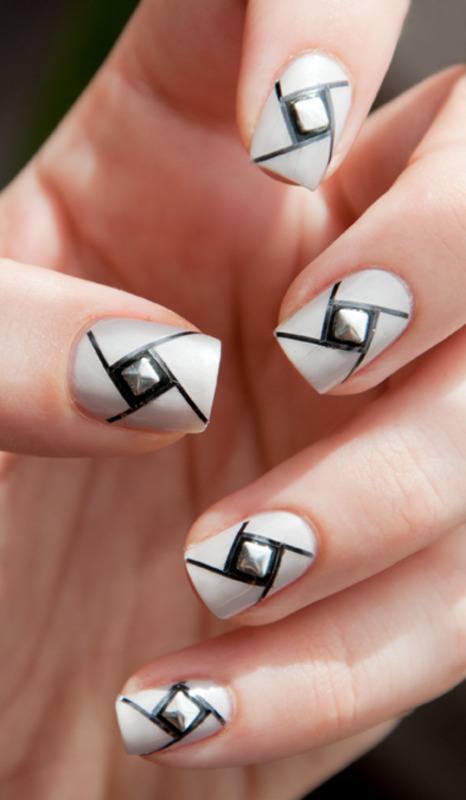 Studded Vortex nail art by Chasing Shadows