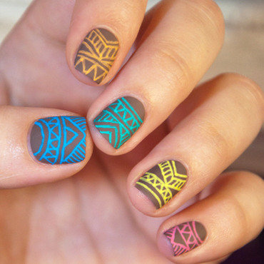 Gel Pens Tribal nail art by Chasing Shadows