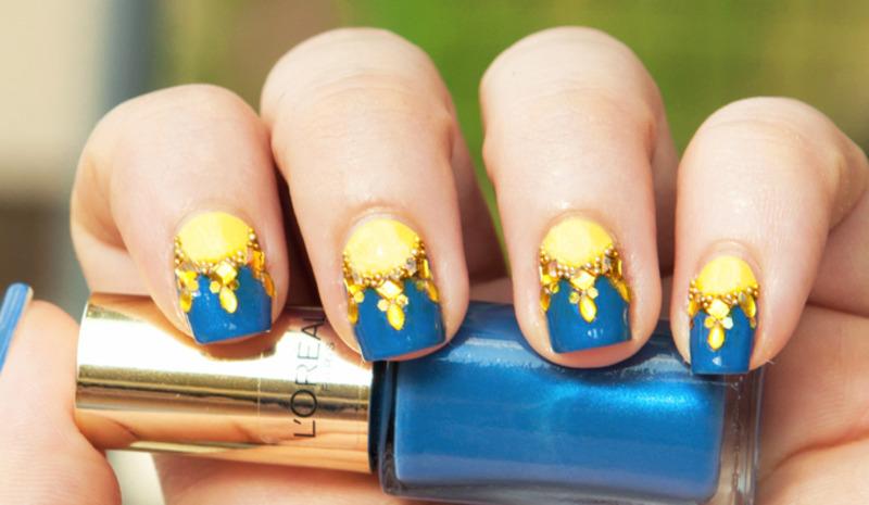 Glittery Half-Suns nail art by Chasing Shadows