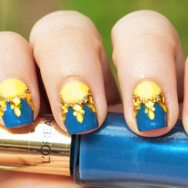 Glittery Half-Suns nail art by Chasing Shadows