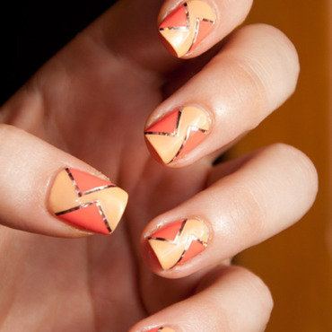 Peachy Triangles nail art by Chasing Shadows