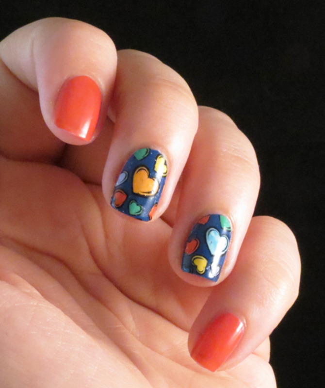 Colorized stamping - hearts nail art by Chasing Shadows