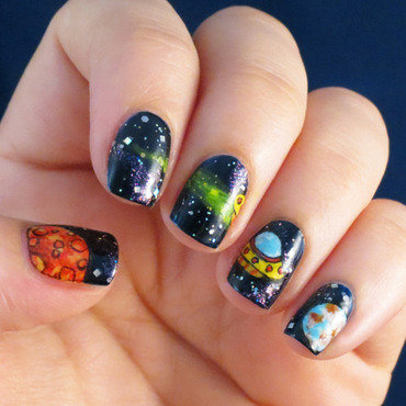 Space Visitors nail art by Chasing Shadows