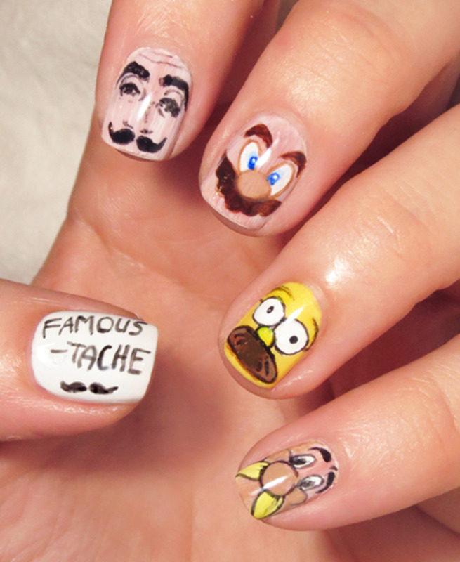 Movember mani nail art by Chasing Shadows