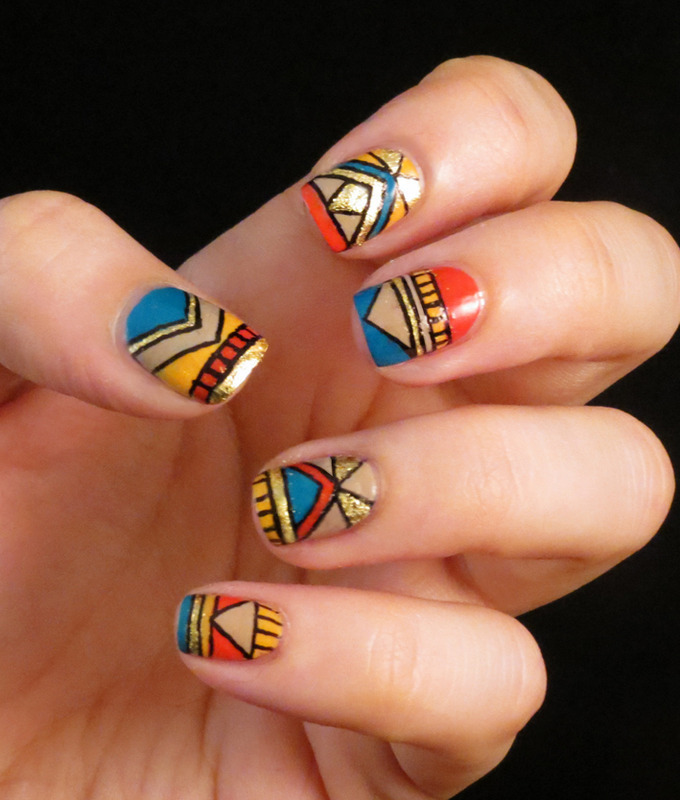 Multicolor Tribal nail art by Chasing Shadows - Multicolor Tribal Nail Art By Chasing Shadows - Nailpolis: Museum Of