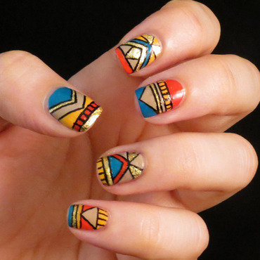 Multicolor Tribal nail art by Chasing Shadows