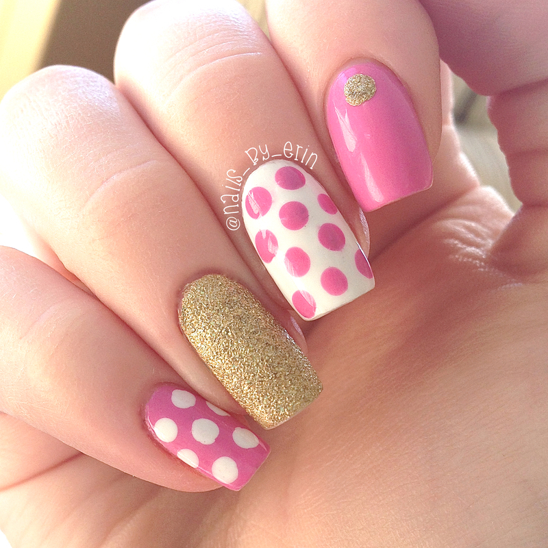 Pink Polka Dot Nails With Gold Accents Nail Art By Erin Nailpolis