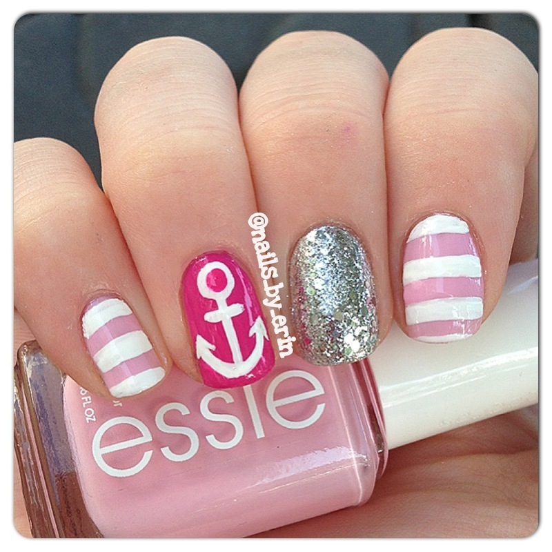 Pink Nautical Themed Nails nail art by Erin