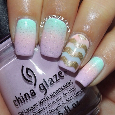 Spring Gradient nail art by Amy