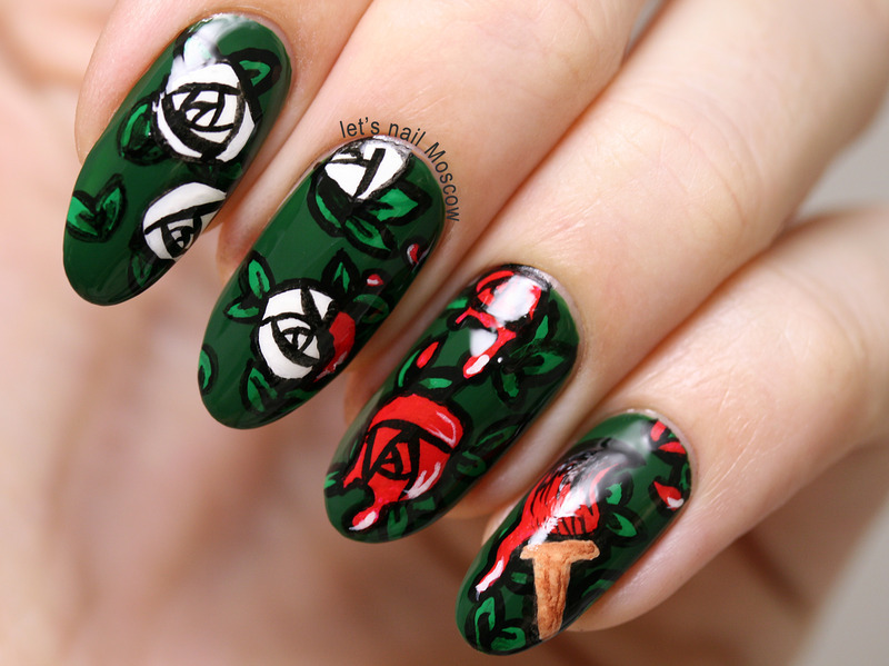 painting roses red - disney - alice in wonderland nail art nail art by Let's Nail Moscow