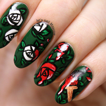 Flower nails nailart                                                               we re painting the roses red alice in wonderland china glaze holly day beautiful 31dc2014 lets nail moscow 1 thumb370f