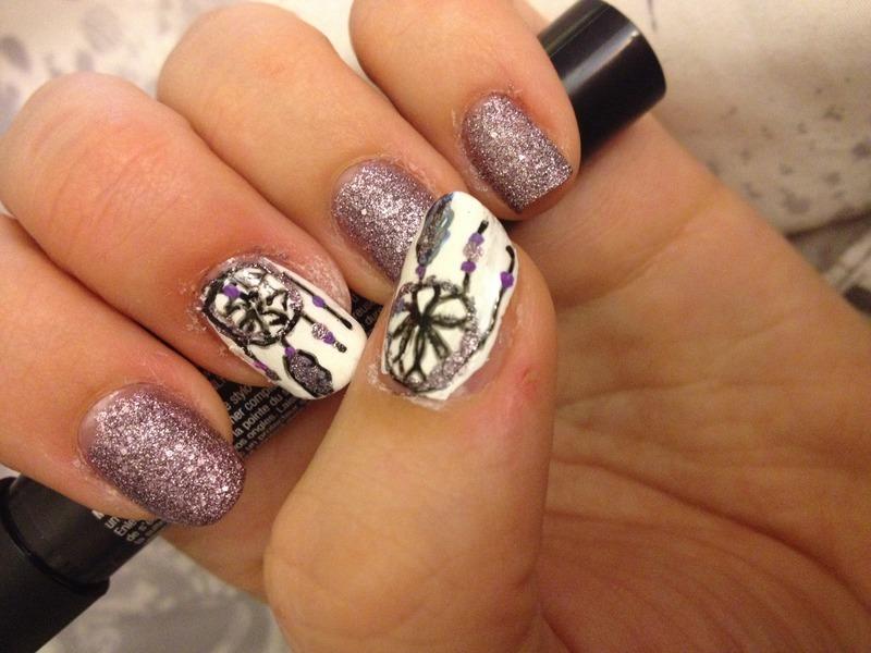 Dream Catcher Glitter nail art by Amanda  Jade