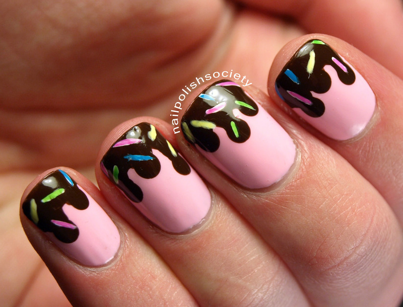 Ice Cream With Chocolate Sauce and Sprinkles Nails nail art by Emiline Harris